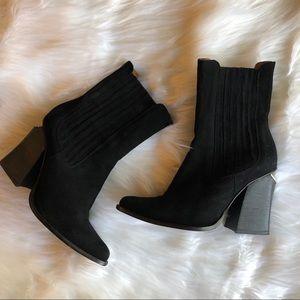 Jeffrey Campbell Cutout Block Heel Suede Boots